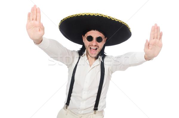 Férfi visel mexikói szombréró izolált fehér férfi Stock fotó © Elnur
