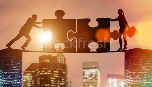 ビジネス チームワーク ジグソーパズル 建物 男 グループ ストックフォト © Elnur