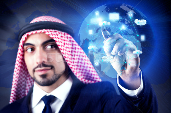 Arab man in cloud computing concept Stock photo © Elnur
