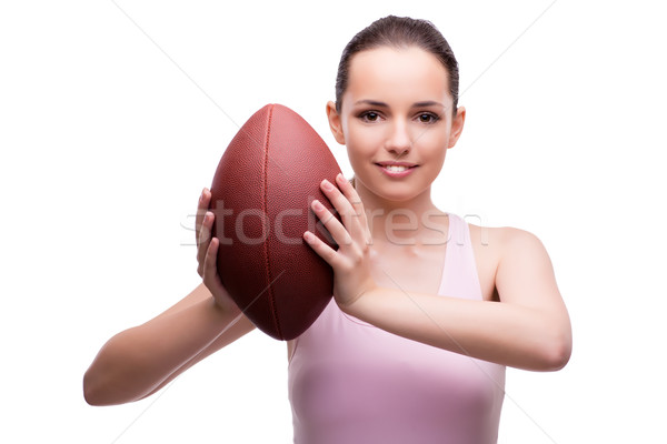Woman with american football isolated on white Stock photo © Elnur