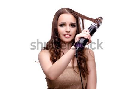 Gyönyörű nő haj hajszárító izolált fehér kéz Stock fotó © Elnur