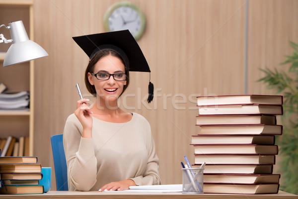 Fiatal diák egyetem vizsgák könyvek iskola Stock fotó © Elnur