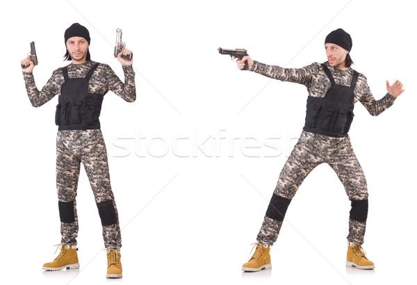 Stok fotoğraf: Asker · tabanca · yalıtılmış · beyaz · el · adam