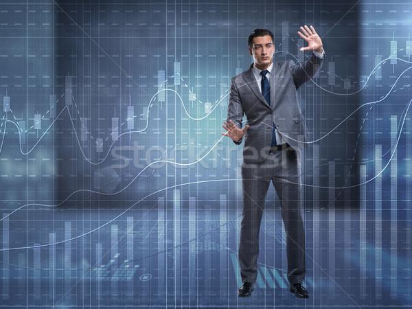 Férfi tőzsde kereskedés pénz munka üzletember Stock fotó © Elnur