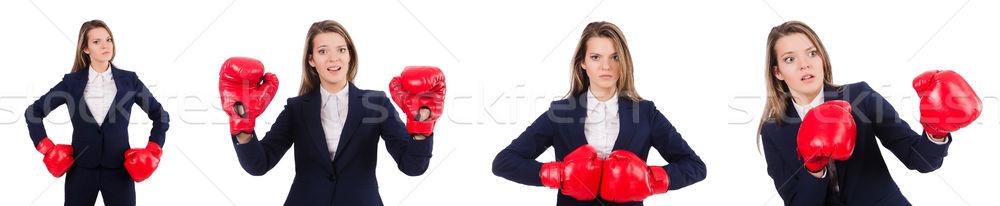 Nő üzletasszony boxkesztyűk fehér üzlet iroda Stock fotó © Elnur