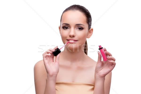 Stock fotó: Fiatal · nő · szépség · izolált · fehér · lány · szem