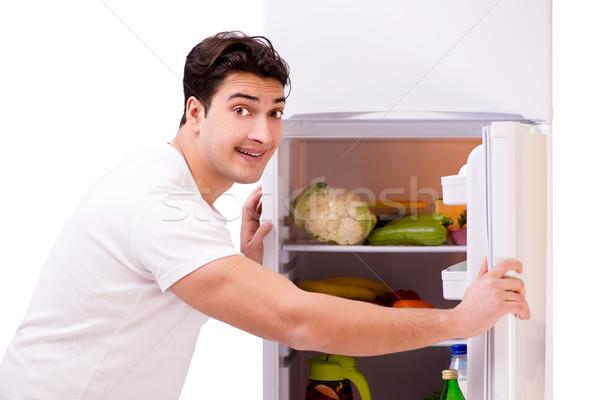 человека холодильник полный продовольствие дома фон Сток-фото © Elnur