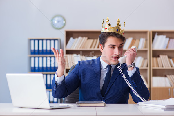 Foto stock: Rey · empresario · de · trabajo · oficina · sonrisa · teléfono