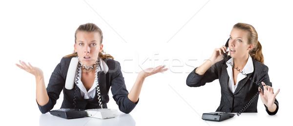 Call center asystent telefonu słuchawki biurko mówić Zdjęcia stock © Elnur