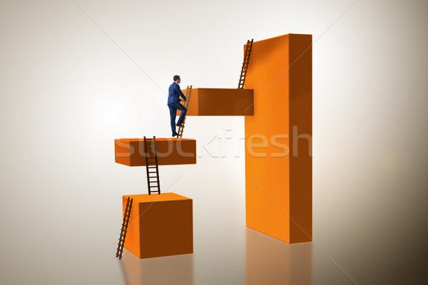 бизнесмен скалолазания блоки карьеру лестнице бизнеса Сток-фото © Elnur