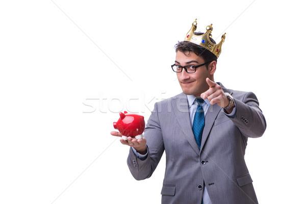 Rei empresário piggy bank isolado branco Foto stock © Elnur