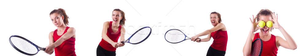 Nő teniszező izolált fehér háttér nyár Stock fotó © Elnur