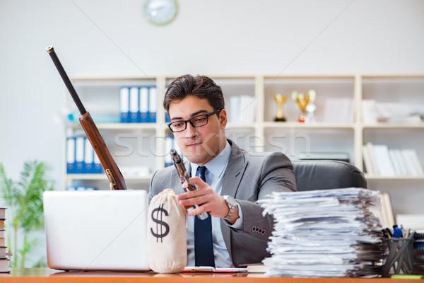 Mérges agresszív üzletember iroda számítógép férfi Stock fotó © Elnur
