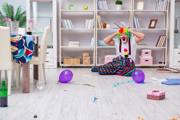 Stockfoto: Dronken · clown · vieren · partij · home · glimlach