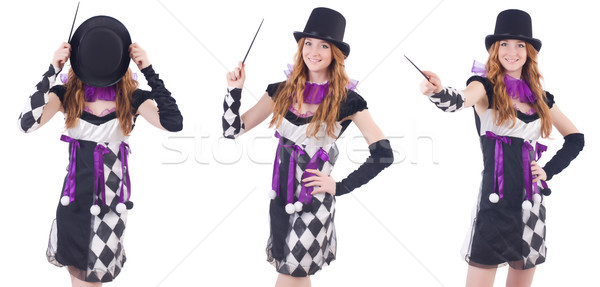 The magician woman with wand on white Stock photo © Elnur