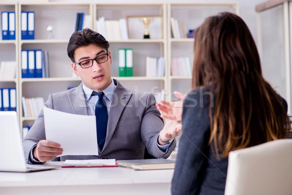 Spotkanie biznesowe biznesmen kobieta interesu człowiek szczęśliwy pracy Zdjęcia stock © Elnur