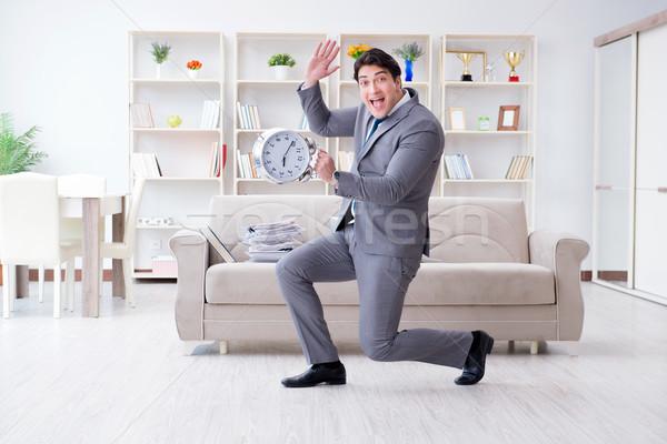 Biznesmen szczęśliwy spotkanie terminy komputera biuro Zdjęcia stock © Elnur