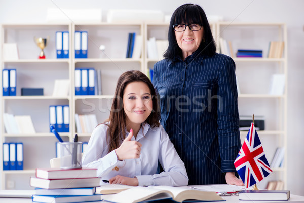 Young foreign student during english language lesson Stock photo © Elnur