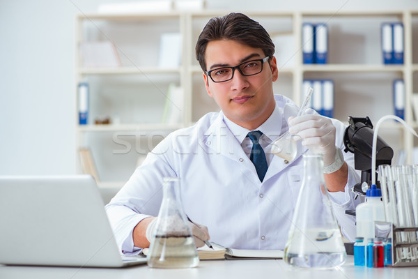 Young researcher scientist doing a water test contamination expe Stock photo © Elnur