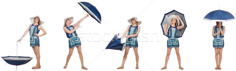 Collage vrouw paraplu geïsoleerd witte sexy Stockfoto © Elnur
