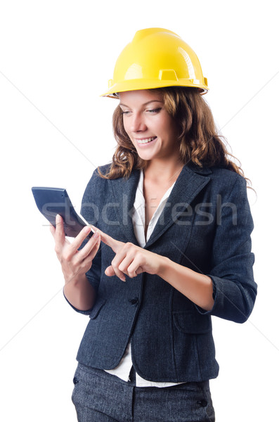 Női építész számológép fehér nő építkezés Stock fotó © Elnur