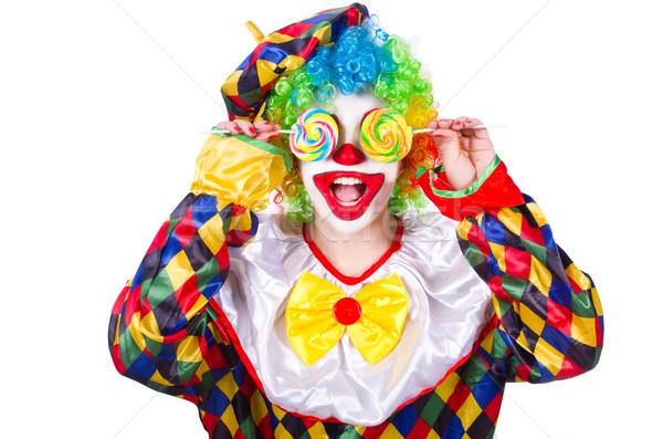 Clown geïsoleerd witte glimlach gezicht leuk Stockfoto © Elnur