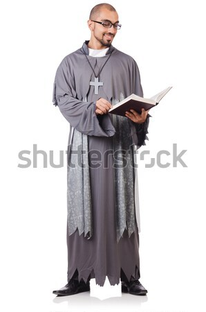 Stock photo: Young priest isolated on the white