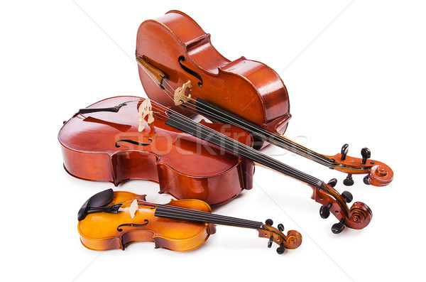 Groep geïsoleerd witte viool retro kleur Stockfoto © Elnur