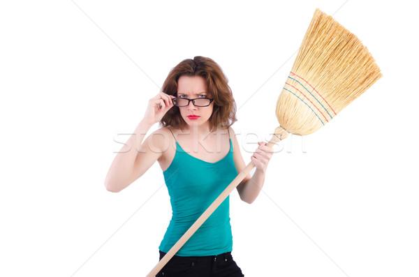 Genç kadın süpürge beyaz kadın ev çalışma Stok fotoğraf © Elnur