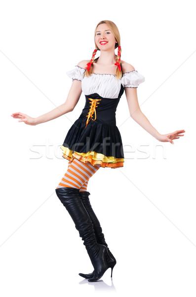 Oktoberfest kadın beyaz kız bira cam Stok fotoğraf © Elnur