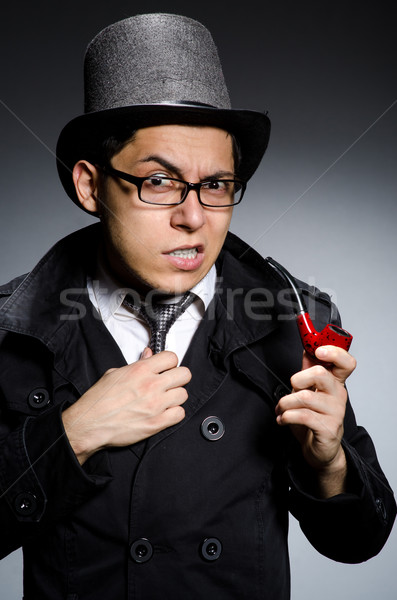 Grappig detective pijp hoed oog gezicht Stockfoto © Elnur