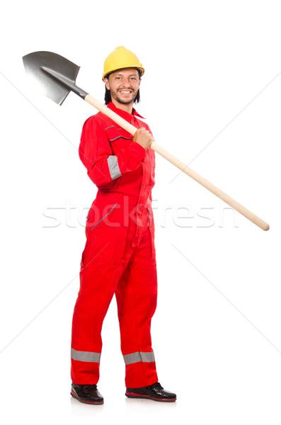 Adam kırmızı maça çalışmak bahçe sanayi Stok fotoğraf © Elnur