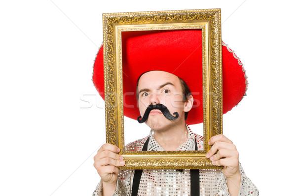Grappig Mexicaanse geïsoleerd witte gezicht frame Stockfoto © Elnur