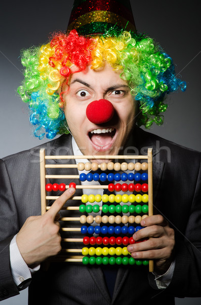 Vicces bohóc üzletember abakusz buli boldog Stock fotó © Elnur