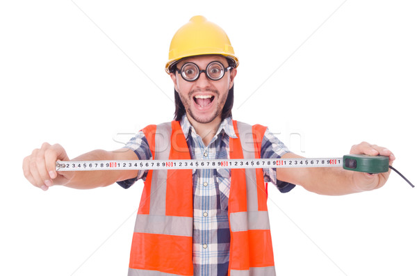 Funny construction worker with tape-line isolated on white Stock photo © Elnur