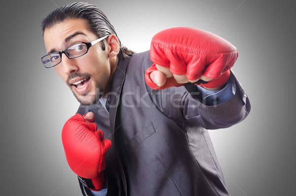 Engraçado empresário luvas de boxe negócio esportes fundo Foto stock © Elnur