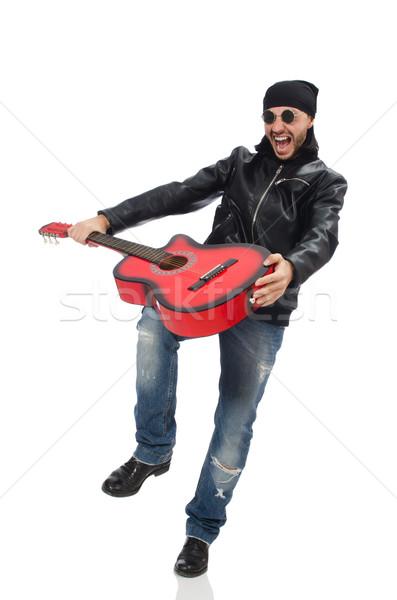 Guitarrista isolado branco música festa guitarra Foto stock © Elnur