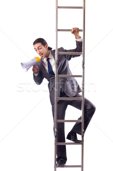üzletember mászik létra izolált fehér pénz Stock fotó © Elnur