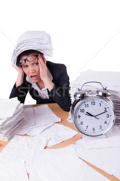 Mujer mujer de negocios estrés que falta plazos reloj Foto stock © Elnur