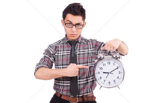 Man with clock trying to meet the deadline isolated on white Stock photo © Elnur
