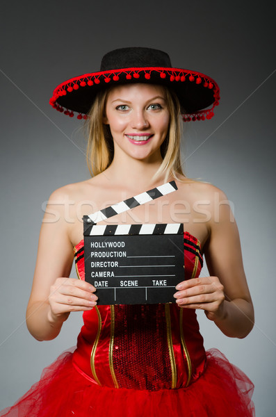 Engraçado mexicano mulher sombrero filme feliz Foto stock © Elnur
