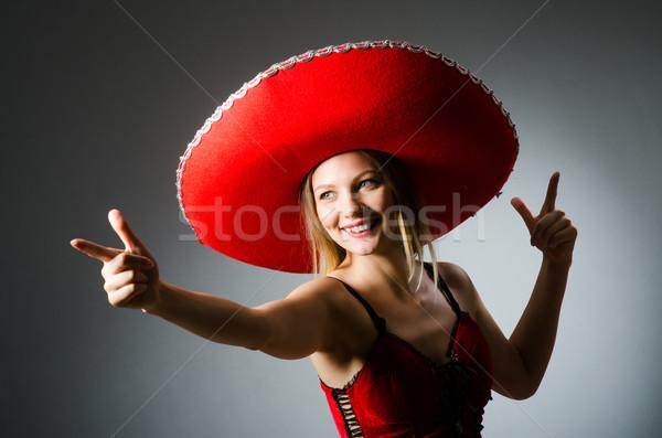 Donna indossare sombrero Hat divertente felice Foto d'archivio © Elnur