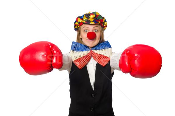 Mooie vrouwelijke clown vak handschoenen geïsoleerd Stockfoto © Elnur