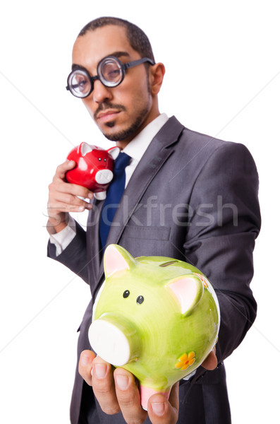 Funny man breaking his piggy bank Stock photo © Elnur