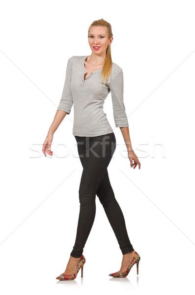 Csinos nő szürke blúz izolált fehér nő Stock fotó © Elnur