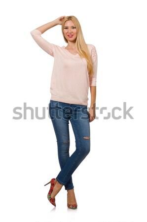 Mooie vrouw Geel blouse geïsoleerd witte vrouw Stockfoto © Elnur