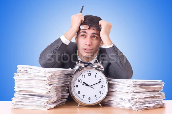 женщину бизнесмен гигант будильник часы работу Сток-фото © Elnur