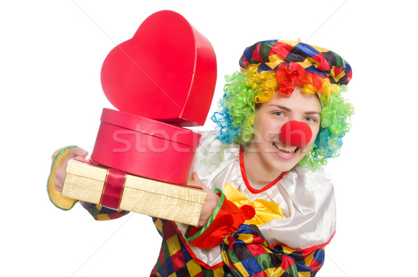 Clown with giftbox isolated on white Stock photo © Elnur