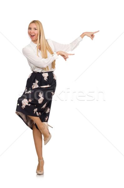 かなり 少女 黒 スカート 花 孤立した ストックフォト © Elnur