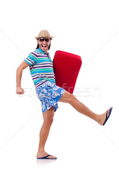 Funny człowiek walizkę odizolowany biały szczęśliwy Zdjęcia stock © Elnur